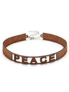 Sparkly Rhinestoned Peace Choker Necklace - Golden