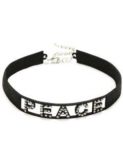 Sparkly Rhinestoned Peace Choker Necklace - Black