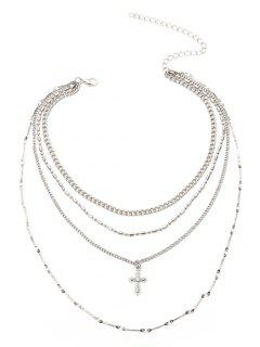 Crucifix Chain Pendant Layered Necklace - Silver