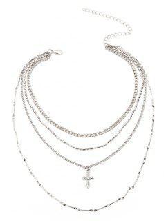 Kruzifix Kette Anhänger Geschichteten Halskette - Silber