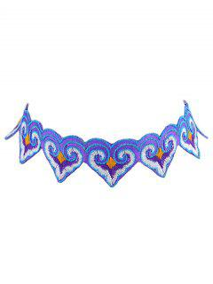 Ethnic Heart Embroidery Choker Necklace - Purple