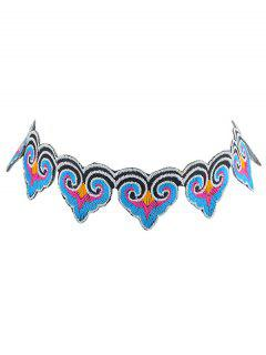 Ethnic Heart Embroidery Choker Necklace - Black