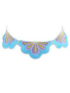 Ethnic Flower Embroidery Choker Necklace - Purple
