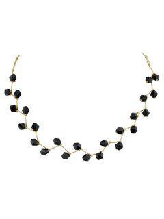 Artificial Crystal Branch Collarbone Necklace - Black