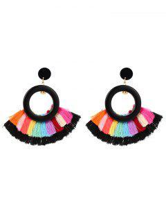 Bohemian Round Rainbow Tassel Earrings - Black