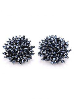 Artificial Crystal Floral Clip On Earrings - Gun Black