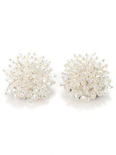 Artificial Crystal Floral Clip On Earrings - Clear White