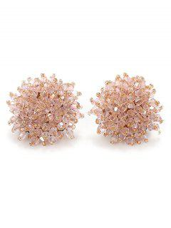 Artificial Crystal Floral Clip On Earrings - Light Pink