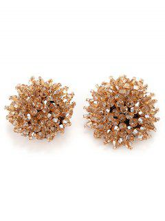 Artificial Crystal Floral Clip On Earrings - Champagne