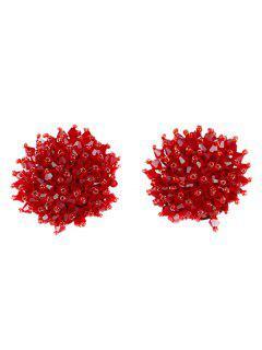 Künstliche Crystal Floral Clip Auf Ohrringe - Rot