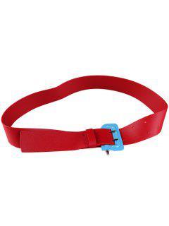 Funny Lock Shape Buckle Faux Leather Waist Belt - Red