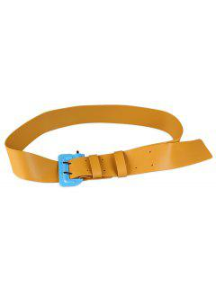 Funny Lock Shape Buckle Faux Leather Waist Belt - Amarillo