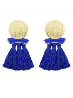Fringed Metal Plate Exaggerated Earrings - Blue