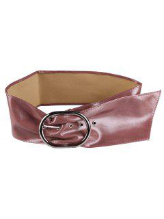 Metal Round Buckle Design Faux Leather Wide Waist Belt - Concord