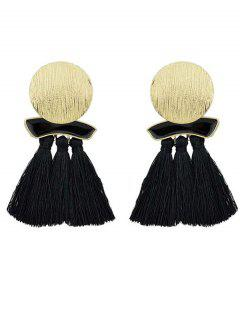Fringed Metal Plate Exaggerated Earrings - Black