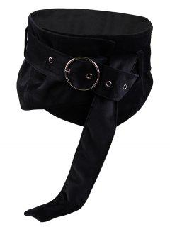 Metal Round Buckle Decorated Ladies Wide Waist Belt - Black