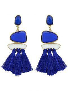 Tassels Tribal Geometric Long Exaggerated Earrings - Blue