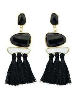 Tassels Tribal Geometric Long Exaggerated Earrings - Black