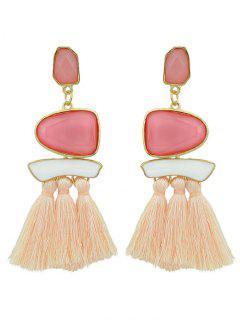 Quasten Tribal Geometrische Lange übertrieben Ohrringe - Pink