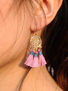 Bohemian Tassel Dream Catch Floral Earrings - Pink
