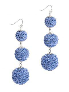 Three Balls Long Pendant Earrings - Blue