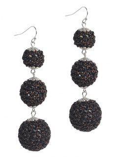 Three Balls Long Pendant Earrings - Black