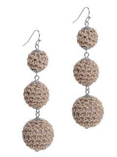 Three Balls Long Pendant Earrings - Dark Khaki