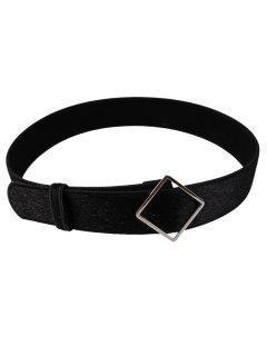 Irregular Metal Buckle Decorated Faux Suede Waist Belt - Black