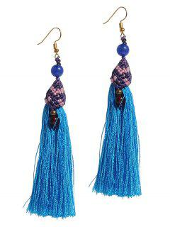 Tassel Beads Long Pendant Earrings - Blue