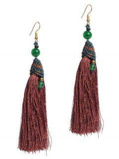 Tassel Beads Long Pendant Earrings - Brown