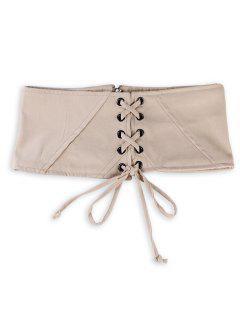 Vintage Lace Up Korsett Bandage Hohe Taille Gürtel - Aprikose