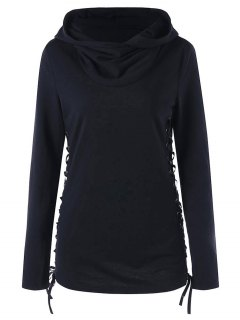 Hoodie With Criss Cross Lace Up - Black 2xl