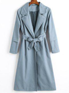 Longline Skirted Belted Trench Coat - Stone Blue M