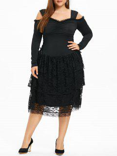 Plus Size Cold Shoulder Layered Gothic Dress - Black 5xl