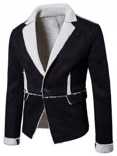 Lapel Collar One Button Suede Shearling Jacket - Black Xl