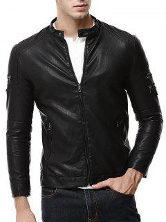 Zipper Embellished Faux Leather Jacket - Black Xl