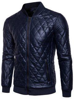 Fleece-lined Argyle Leatherette Biker Jacket - Cadetblue Xl
