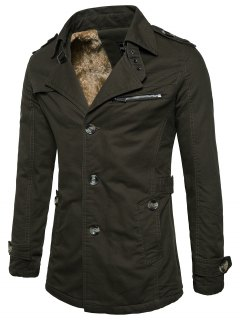 Fur-lined Zip Insert Single Breasted Jacket - Army Green Xl