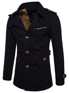 Fur-lined Zip Insert Single Breasted Jacket - Black 2xl