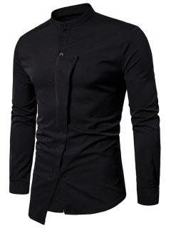 Mandarin Collar Irregular Asymmetric Shirt - Black L