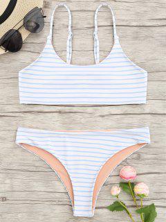 Cami Gestreiftes Bralette Bikini Set - Blau S