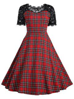 Vintage Lace Panel Tartan Dress - Red With Black 2xl