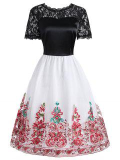 Lace Insert Embroidered Mesh Vintage Dress - Red 2xl