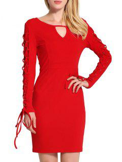 Keyhole Neck Lace Up Mini Bodycon Dress - Red 2xl