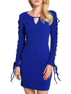 Keyhole Neck Lace Up Mini Bodycon Dress - Blue 2xl