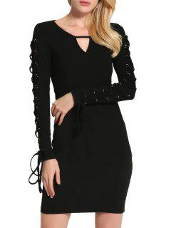 Keyhole Neck Lace Up Mini Bodycon Dress - Black 2xl