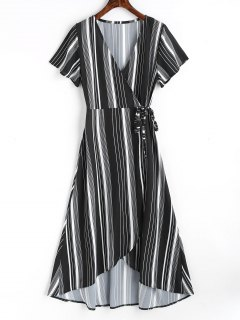 Asymmetrical Stripes Wrap Maxi Dress - Black Xl