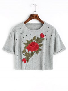 Holes Floral Embroidered Patches Cropped Top - Gray S