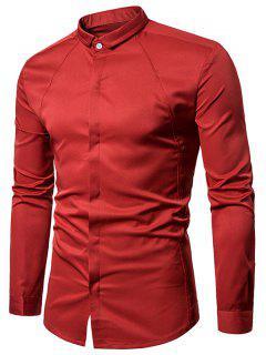 Camisa De Botón Con Cuello Vuelto Y Cobertura - Rojo Xl