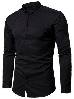 Turndown Collar Covered Button Shirt - Black L